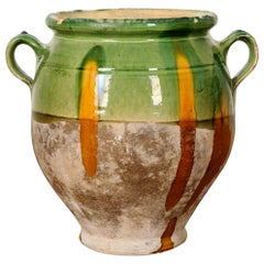 French 19th Century Green and Yellow Glazed Confit Jar