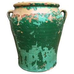 French 19th Century Green-Glazed Castelnaudary Pot or Planter with Handles