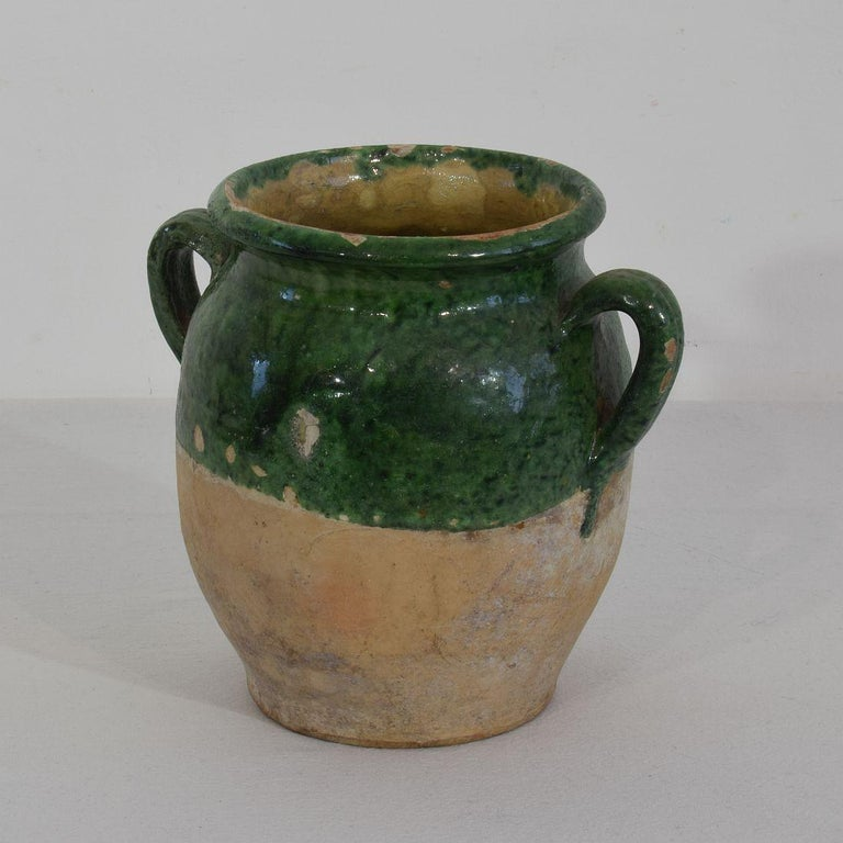 Beautiful confit jar. With green glaze they are extremely rare. Confit jars were used primarily in the South of France for the preservation of meats such as duck or goose for dishes such as cassoulet or foie gras. The bottom halves were left