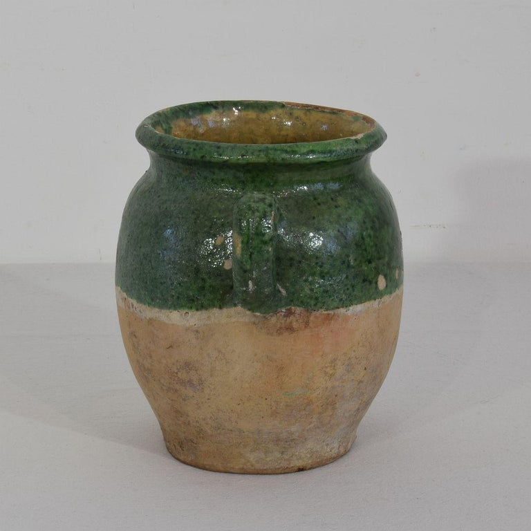 French 19th Century Green Glazed Ceramic Confit Jar In Good Condition In Amsterdam, NL