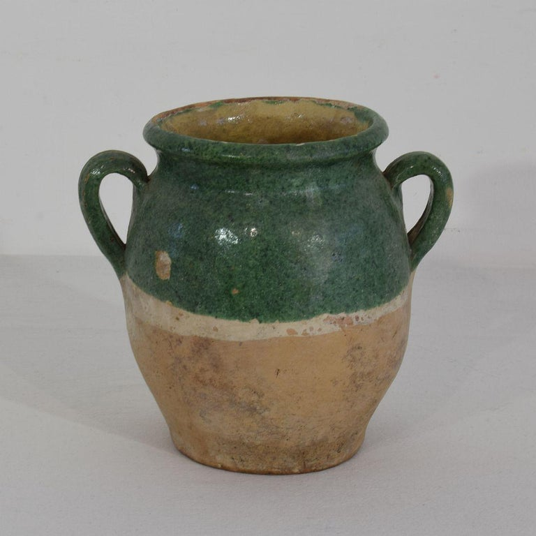Terracotta French 19th Century Green Glazed Ceramic Confit Jar