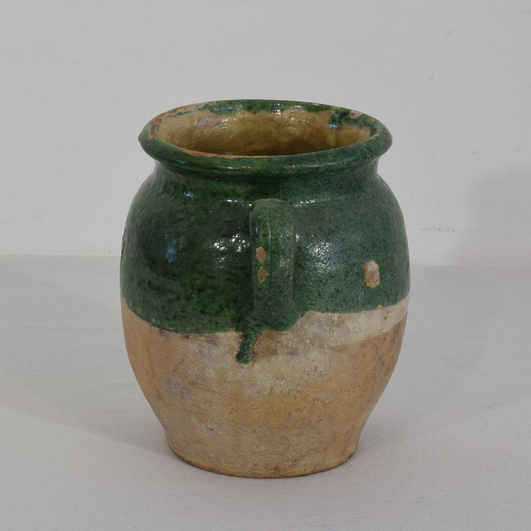French 19th Century Green Glazed Ceramic Confit Jar 1