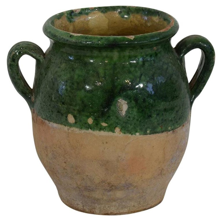 French 19th Century Green Glazed Ceramic Confit Jar