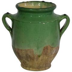 French 19th Century Green Glazed Ceramic Confit Jar