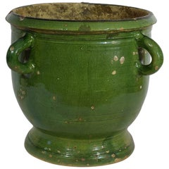 French 19th Century Green Glazed Earthenware Castelnaudary Planter