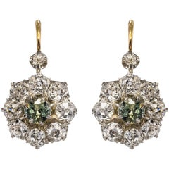 French 19th Century Green Sapphire Diamonds 18 Karat Gold Lever- Back Earrings