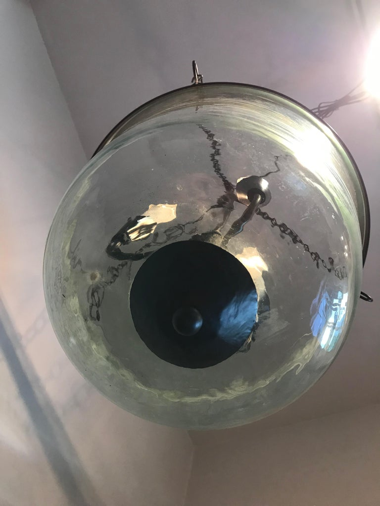 French 19th Century Hand Blown Glass Bell Cloche Hanging Light For Sale 5