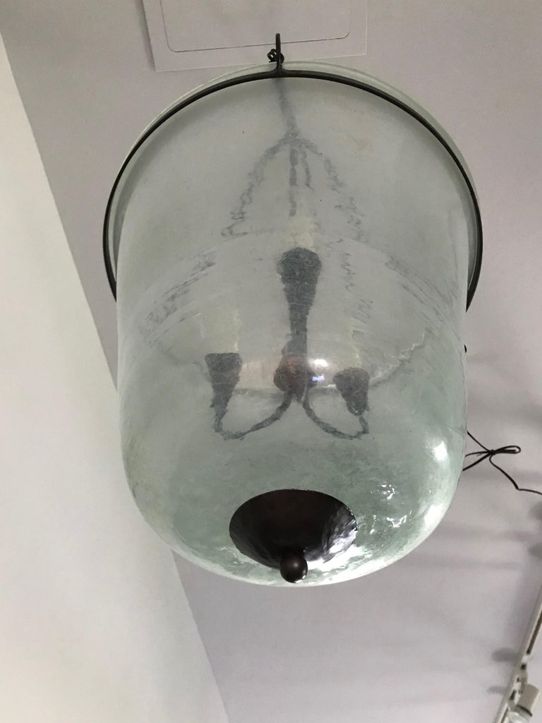 French 19th Century Hand Blown Glass Bell Cloche Hanging Light For Sale 4