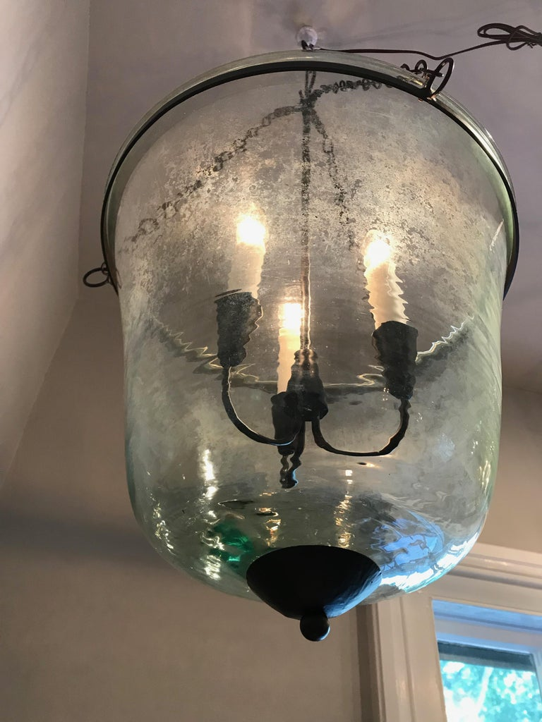 French 19th Century Hand Blown Glass Bell Cloche Hanging Light For Sale 6