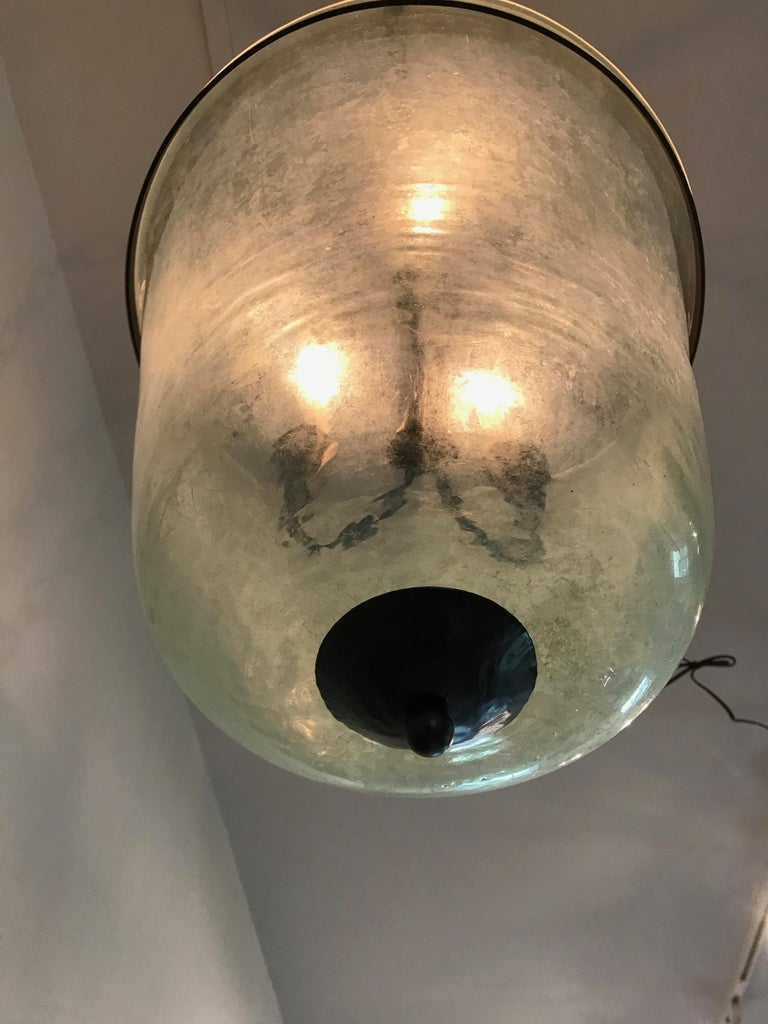 French 19th Century Hand Blown Glass Bell Cloche Hanging Light In Good Condition For Sale In Woodbury, CT