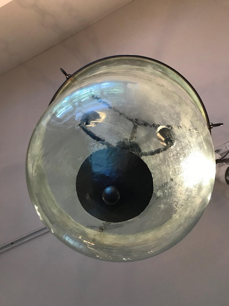 French 19th Century Hand Blown Glass Bell Cloche Hanging Light For Sale 1