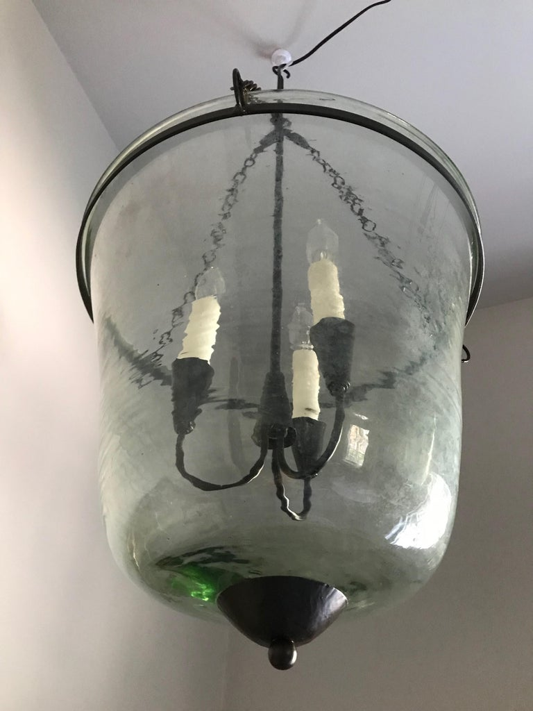 French 19th Century Hand Blown Glass Bell Cloche Hanging Light For Sale 2