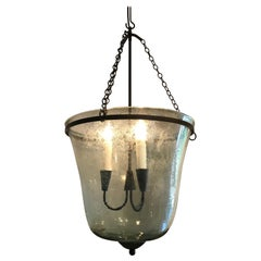 French 19th Century Hand Blown Glass Bell Cloche Hanging Light