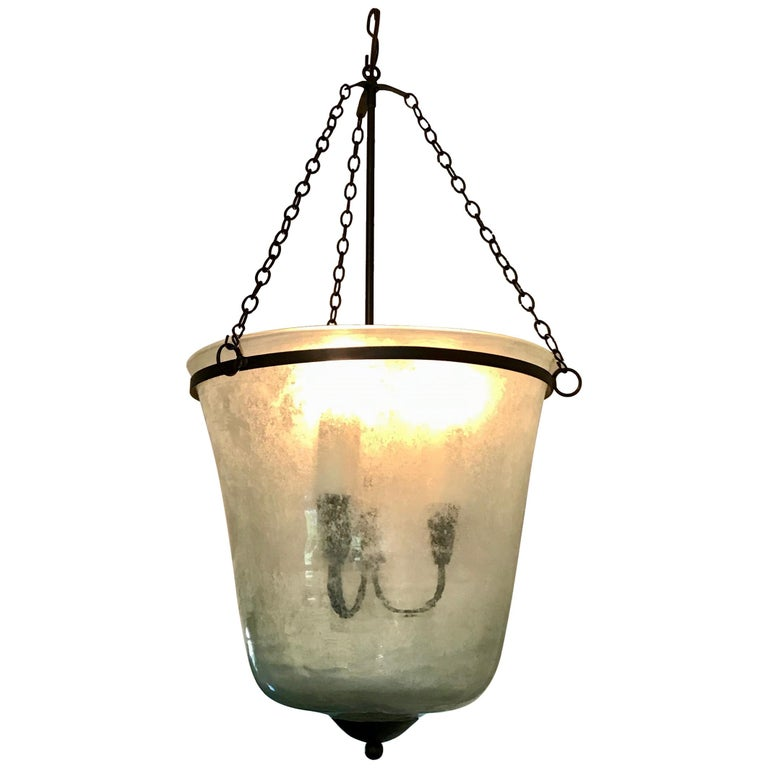 French 19th Century Hand Blown Glass Bell Cloche Hanging Light For Sale