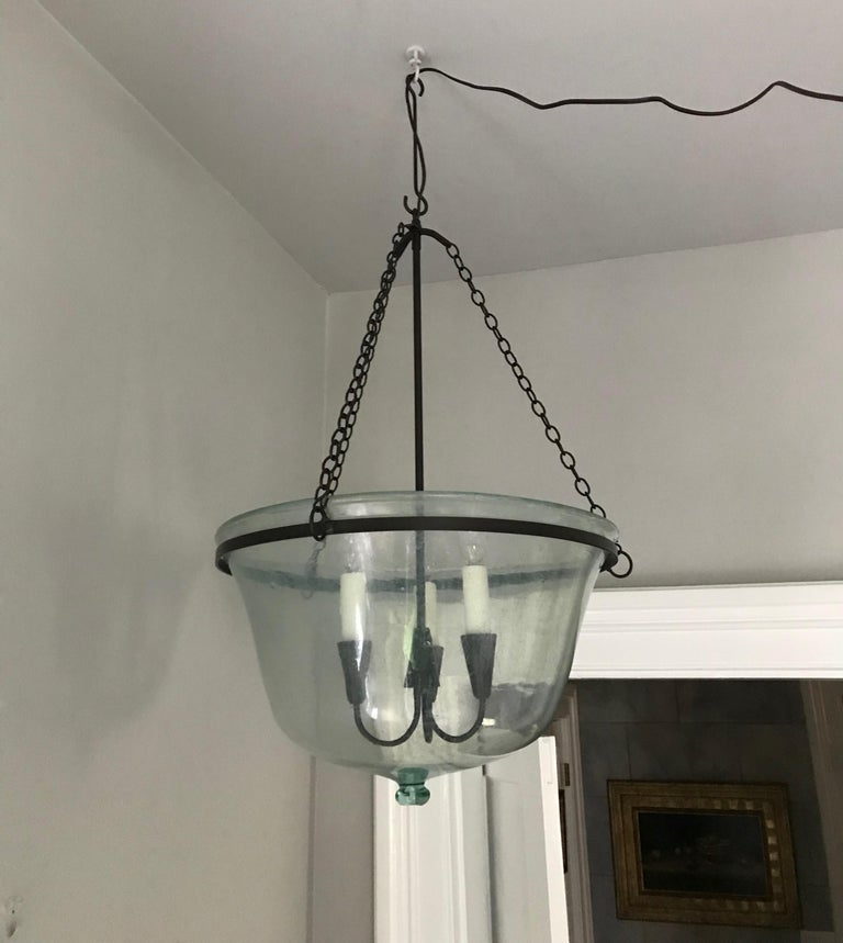 French 19th Century Hand Blown Glass Melon Cloche Hanging Light For Sale 7