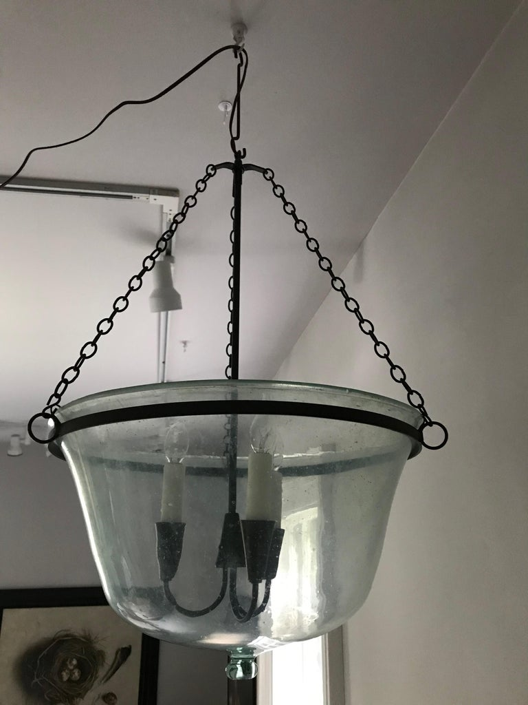 French 19th Century Hand Blown Glass Melon Cloche Hanging Light For Sale 8