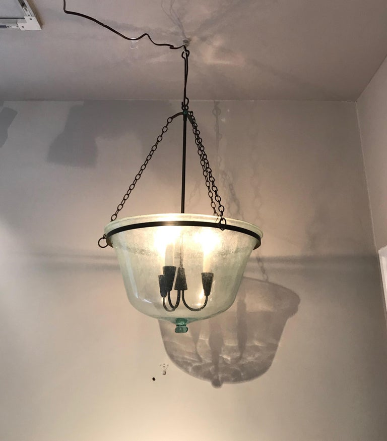 French 19th Century Hand Blown Glass Melon Cloche Hanging Light In Good Condition For Sale In Woodbury, CT