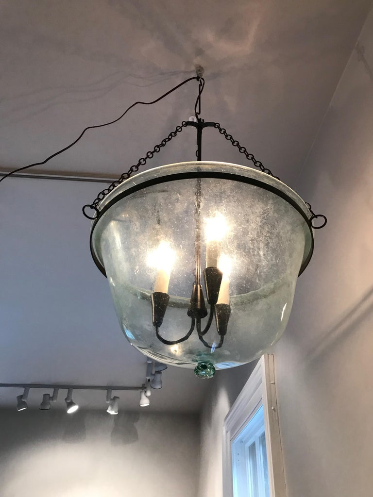 French 19th Century Hand Blown Glass Melon Cloche Hanging Light For Sale 2