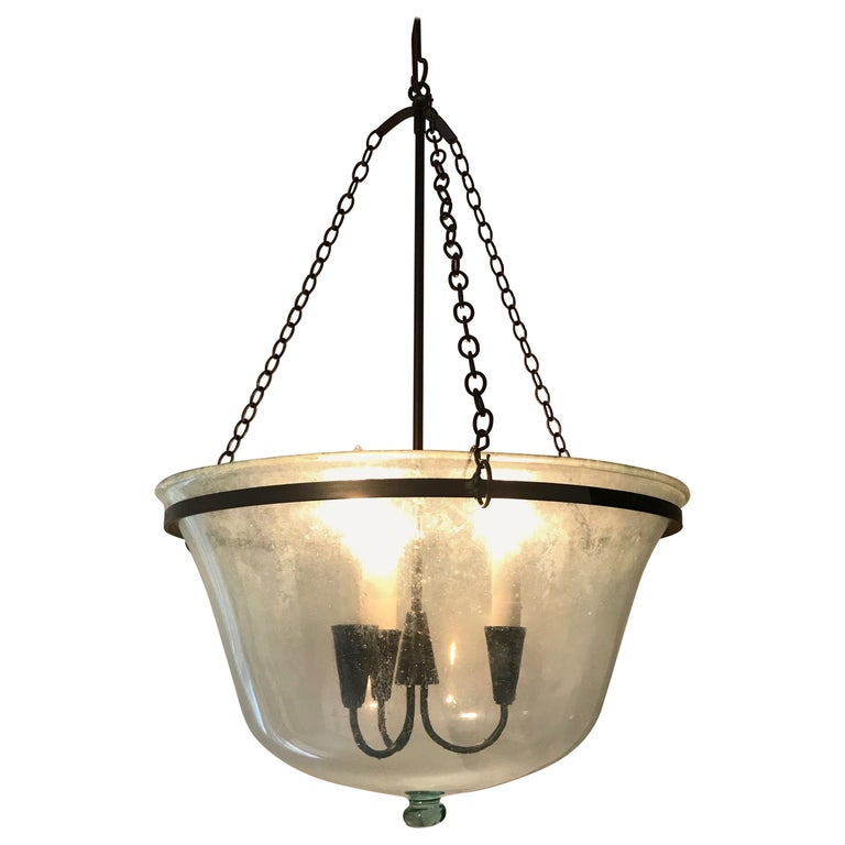 French 19th Century Hand Blown Glass Melon Cloche Hanging Light For Sale