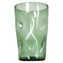 French 19th Century Hand Blown Green Glass Vase