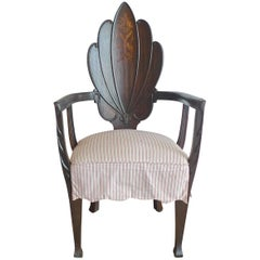 French 19th Century Hand Carved and Stained Armchair with Three Cushions