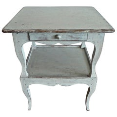 French 19th Century Hand Carved Hand Painted Pine Nightstand with One Drawer