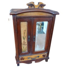 French 19th Century Hand-Carved Miniature Sample Armoire With Mirror