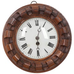 French 19th Century Hand-Carved Oak Wall Clock
