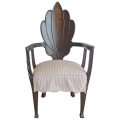 French 19th Century Hand Carved Stained Armchair with 2 Cushions