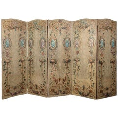 French 19th Century Hand Painted Five Panel Canvas Screen