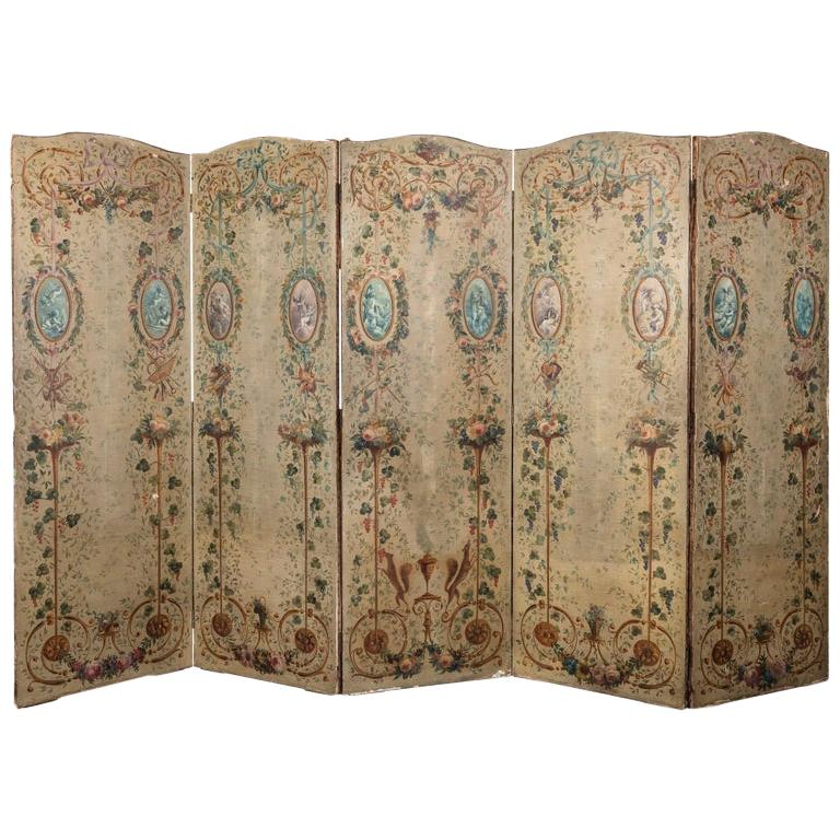 French 19th Century Hand Painted Five Panel Canvas Screen For Sale