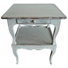 French 19th Century Hand Painted Pine Nightstand with One Drawer