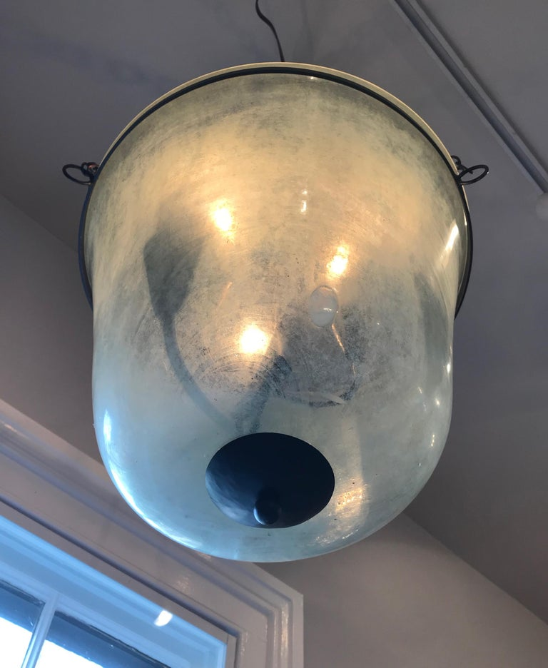 French 19th Century Handblown Glass Bell Cloche Hanging Light In Good Condition For Sale In Woodbury, CT