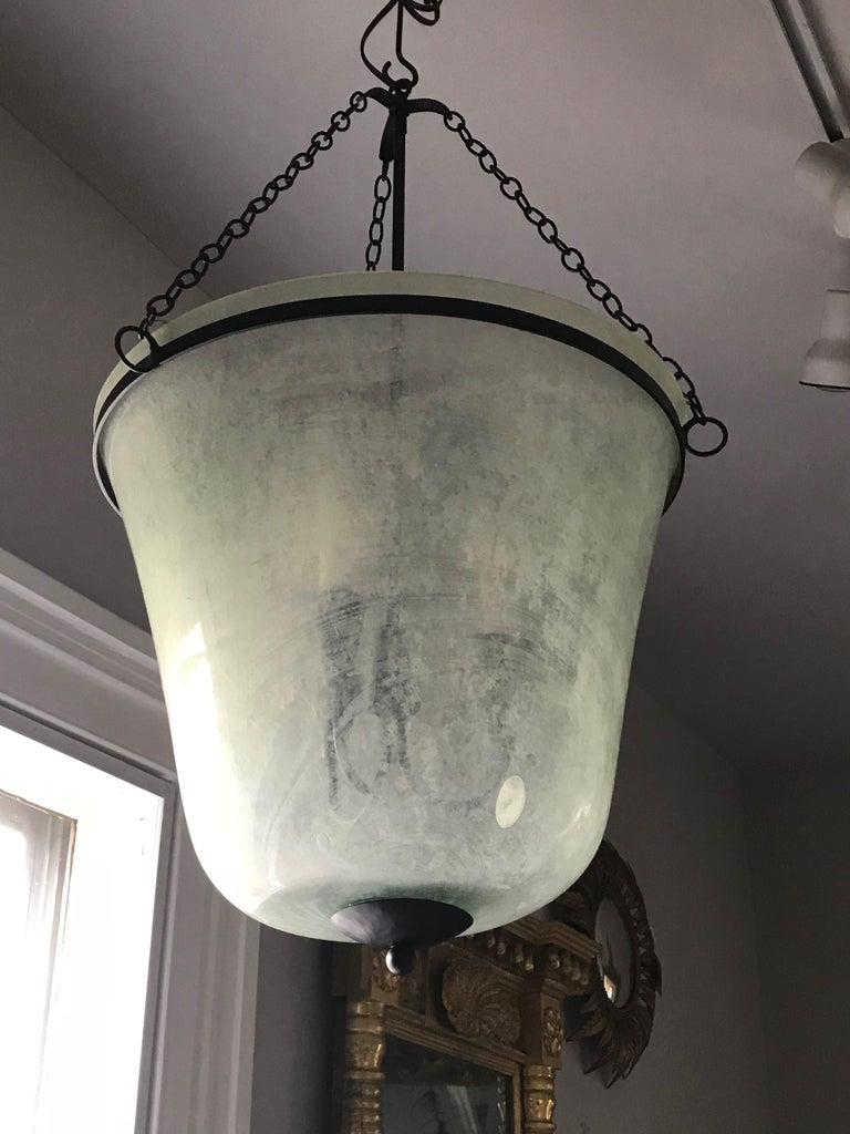 French 19th Century Handblown Glass Bell Cloche Hanging Light For Sale 2