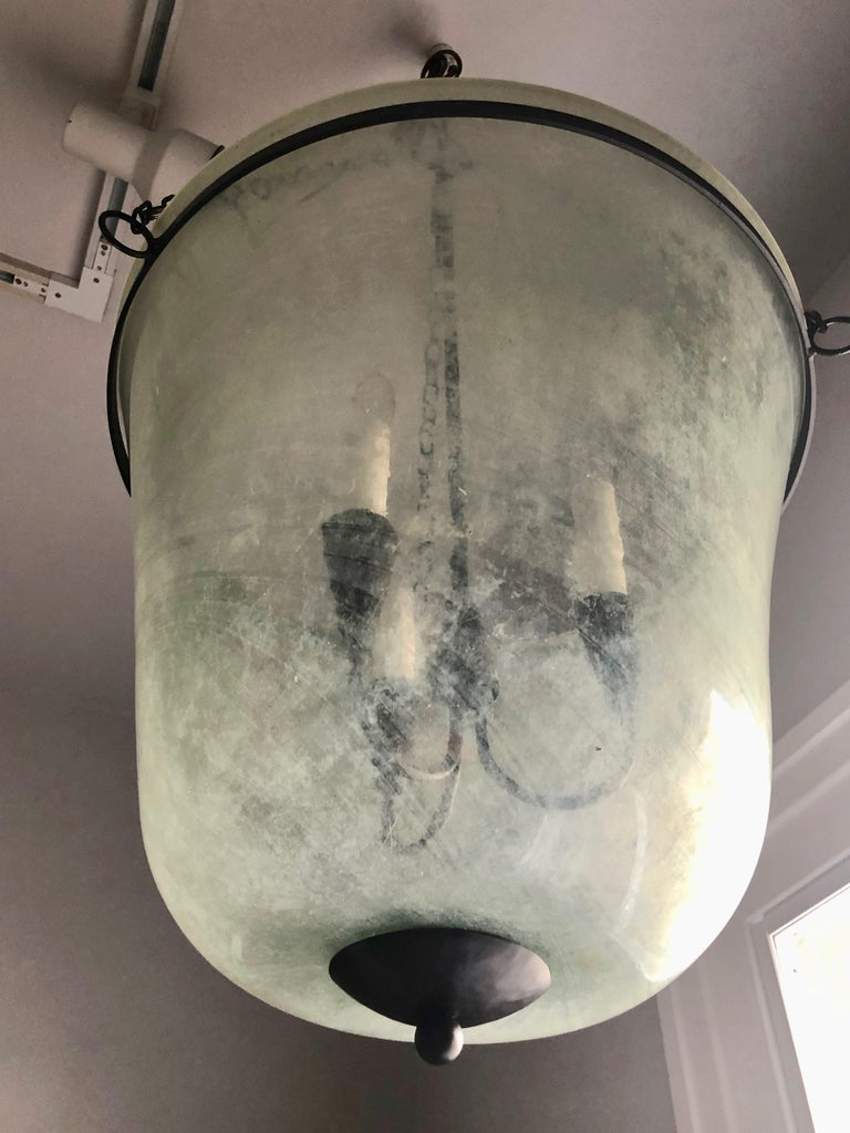French 19th Century Handblown Glass Bell Cloche Hanging Light For Sale 3