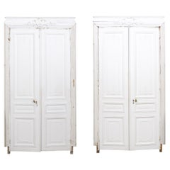 French 19th Century Haussmann Painted Doors with Carved Foliage Motifs
