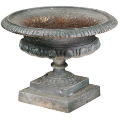 French 19th Century Iron Jardinière with Ovoid Motifs and Distressed Patina