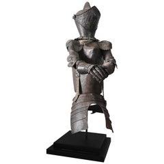 French 19th Century Iron Knight Sculpture on Iron Base