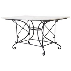 French 19th Century Iron Marble Top Pastry Bakers Table