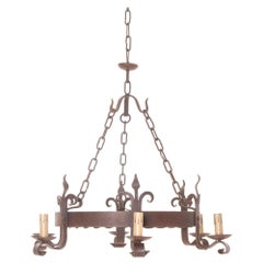 French 19th Century Iron Six-Light Chandelier