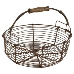 French 19th Century Iron Wirework Basket