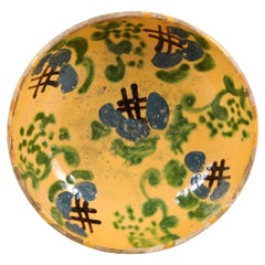 French 19th Century Jaspe Pottery Bowl with Blue, Green and Crosshatch Accents