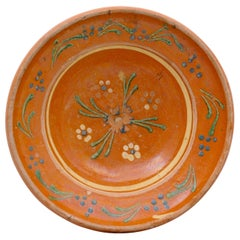 French 19th Century Jaspe Pottery Bowl with Russet Ground and Floral Motifs