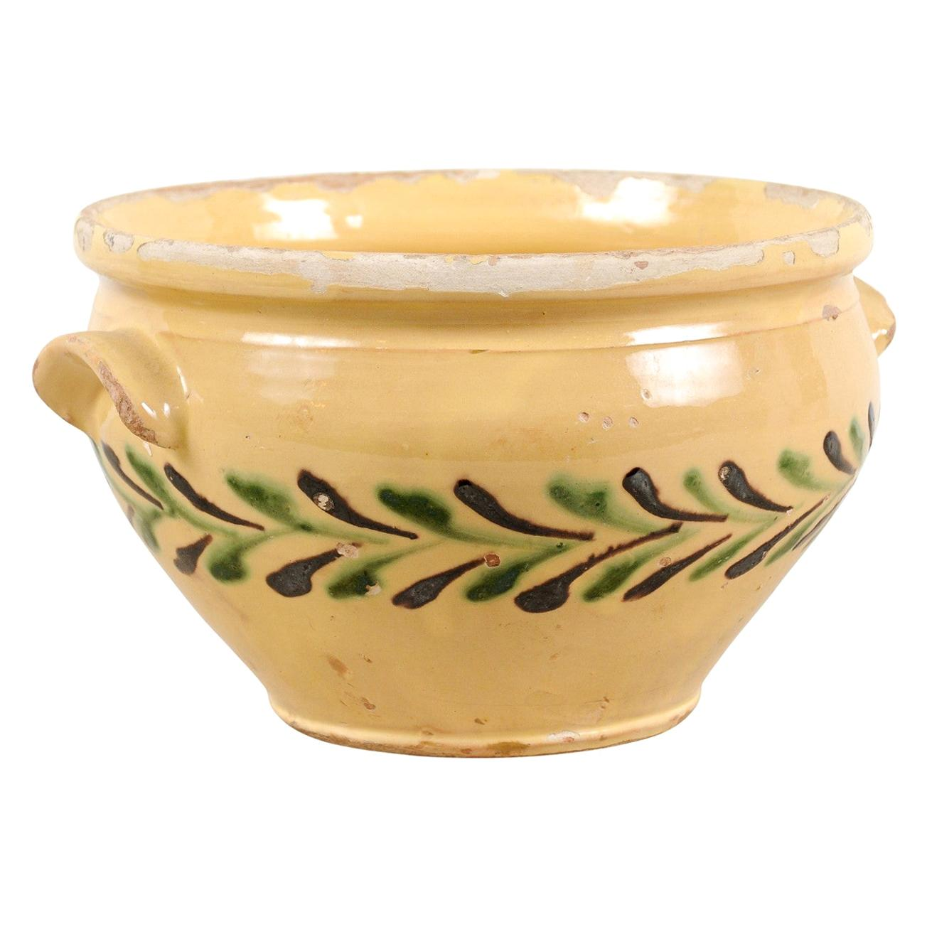 French 19th Century Jaspe Pottery Bowl with Stylized Olive Tree Motifs
