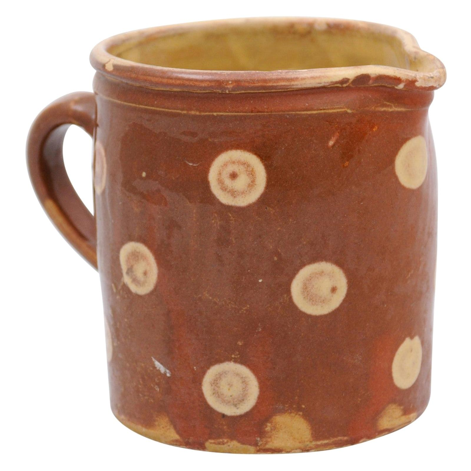 French 19th Century Jaspé Ware Pottery Pitcher with Brown and Cream Glaze