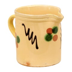 French 19th Century Jaspe Ware Pottery Pitcher with Yellow, Green, Brown Glaze