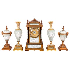 French 19th Century Jasper Porcelain + Enamel Clock Set