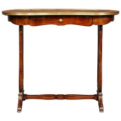 French 19th Century Kidney Shaped Mahogany Writing Table