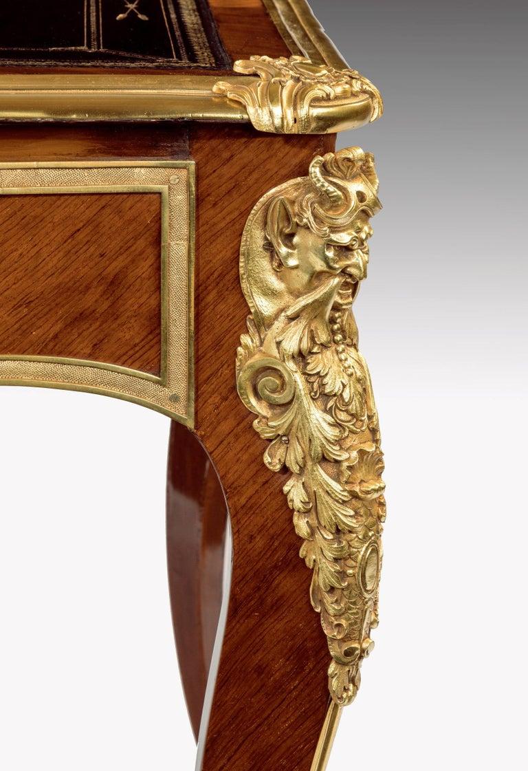 Brass French 19th Century Kingwood and Ormolu-Mounted Bureau Plat Writing Desk For Sale