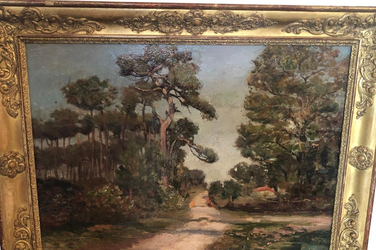 A very beautiful late 19th-early 20th century oil painting housed in its period Restoration giltwood frame. A lovely subject matter depicting the Pines of Les Landes, in the French Basque region. Wonderful brush work and texture.